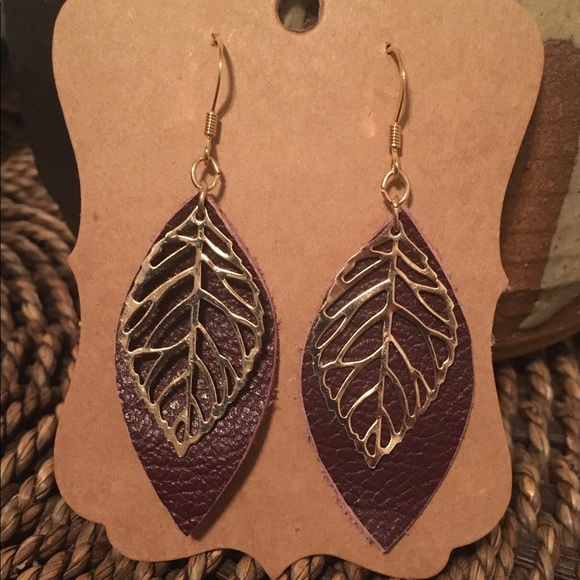 Leather and Metallic Earrings on Gold-plated Hooks